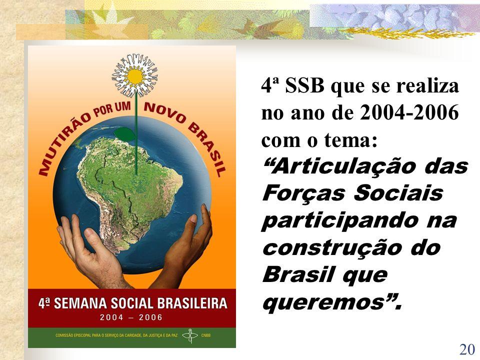 20 4ª SSB que se realiza no ano de 2004-2006 com o tema: Articulação das Forças Sociais participando na construção do Brasil que queremos.