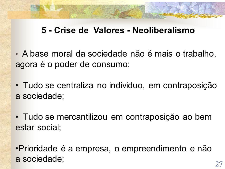 27 A base moral da sociedade não é mais o trabalho, agora é o poder de consumo; Tudo se centraliza no individuo, em contraposição a sociedade; Tudo se