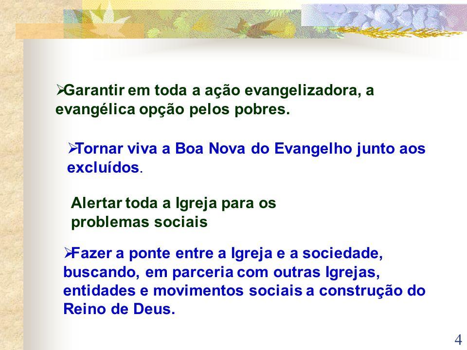 4 Garantir em toda a ação evangelizadora, a evangélica opção pelos pobres. Tornar viva a Boa Nova do Evangelho junto aos excluídos. Alertar toda a Igr