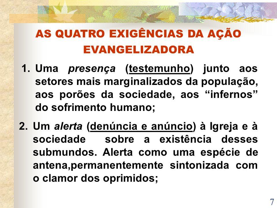 7 AS QUATRO EXIGÊNCIAS DA AÇÃO EVANGELIZADORA 1. Uma presença (testemunho) junto aos setores mais marginalizados da população, aos porões da sociedade