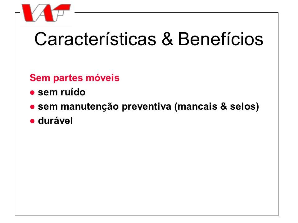 Características & Benefícios Sem partes móveis l sem ruído l sem manutenção preventiva (mancais & selos) l durável