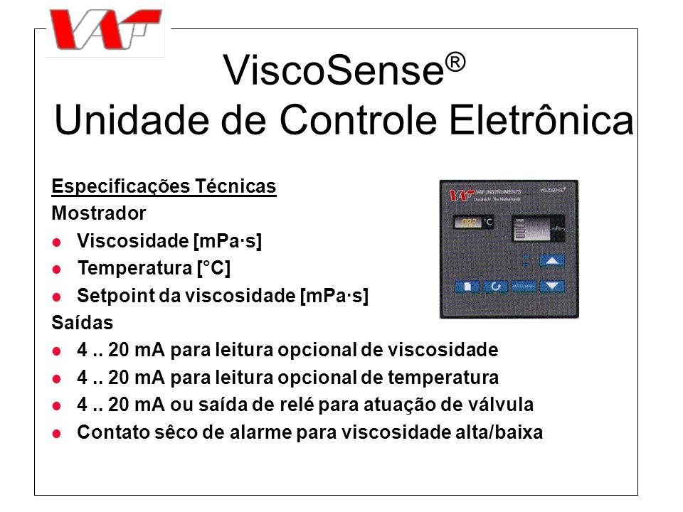 ViscoSense ® Unidade de Controle Eletrônica Especificações Técnicas Mostrador l Viscosidade [mPa·s] l Temperatura [°C] l Setpoint da viscosidade [mPa·