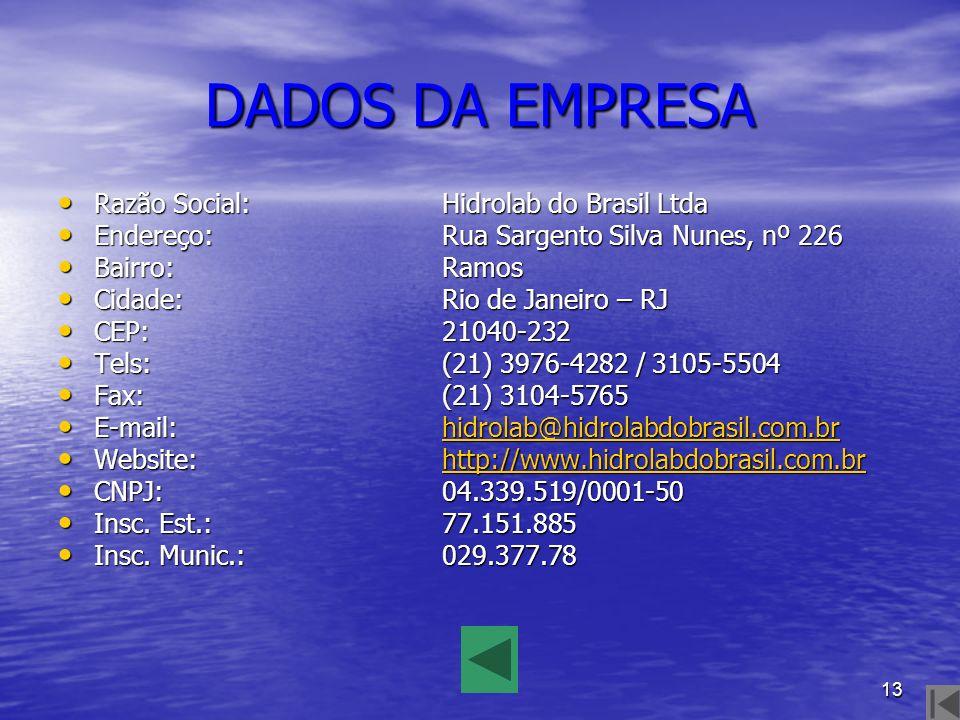 13 DADOS DA EMPRESA Razão Social:Hidrolab do Brasil Ltda Razão Social:Hidrolab do Brasil Ltda Endereço:Rua Sargento Silva Nunes, nº 226 Endereço:Rua S