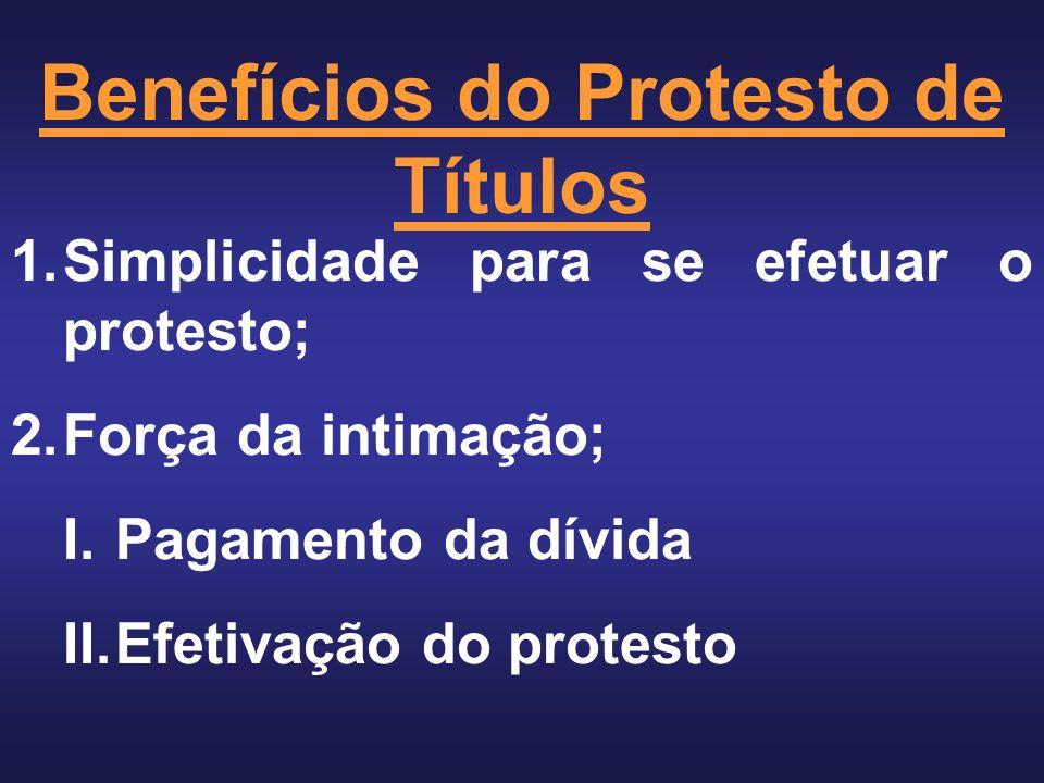 Benefícios do Protesto de Títulos 1.Simplicidade para se efetuar o protesto; 2.Força da intimação; I.Pagamento da dívida II.Efetivação do protesto
