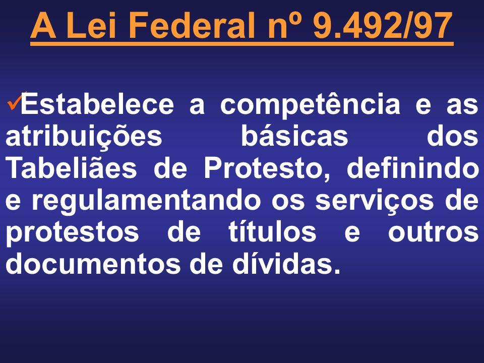 A Lei Federal nº 9.492/97 Estabelece a competência e as atribuições básicas dos Tabeliães de Protesto, definindo e regulamentando os serviços de protestos de títulos e outros documentos de dívidas.