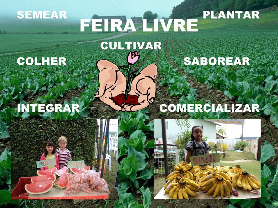 FEIRA LIVRE SEMEAR PLANTAR CULTIVAR COLHER SABOREAR INTEGRAR COMERCIALIZAR