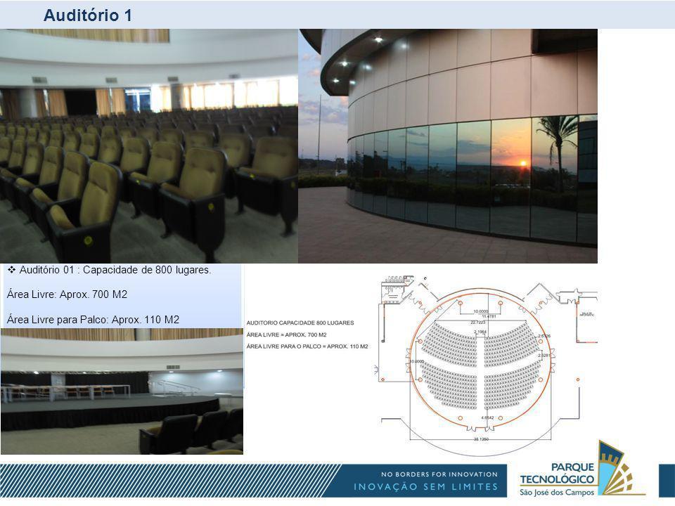Auditório 1 Auditório 01 : Capacidade de 800 lugares. Área Livre: Aprox. 700 M2 Área Livre para Palco: Aprox. 110 M2 - Trafo 01 : 1.500 KVA / 380 V /