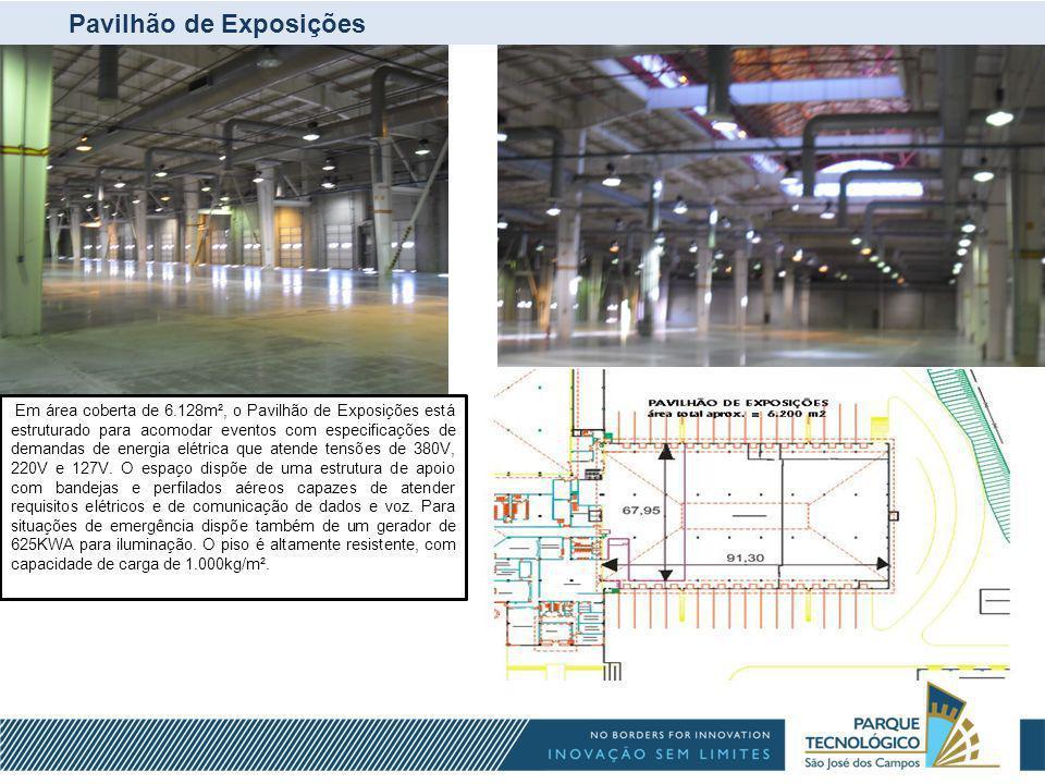 Pavilhão de Exposições Em área coberta de 6.128m², o Pavilhão de Exposições está estruturado para acomodar eventos com especificações de demandas de e