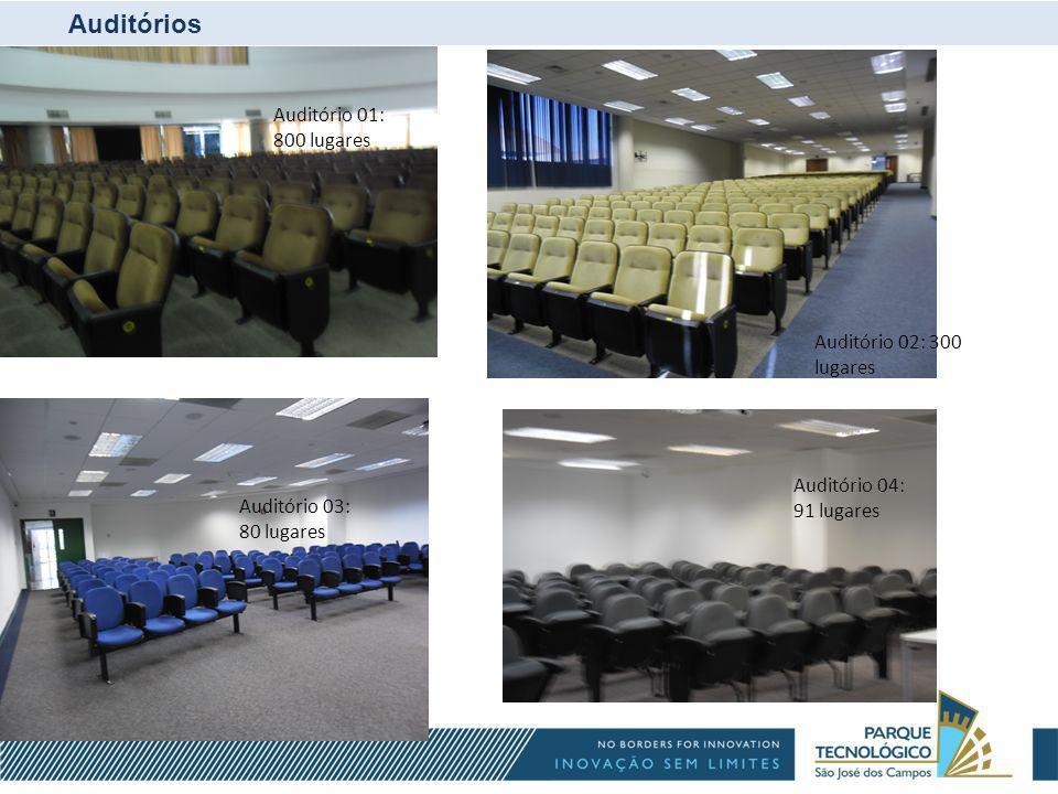 Auditórios Auditório 03 Auditório 03: 80 lugares Auditório 04: 91 lugares Auditório 02: 300 lugares Auditório 01: 800 lugares