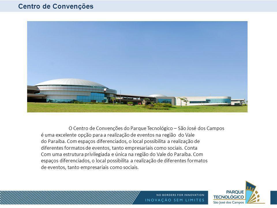 Centro de Convenções é composto por: Pavilhão de Exposições com área de 6.128m2; Quatro Auditórios; Cinco Salas Multiuso; Hall com 650m2 de área para eventos; Estacionamentos e Heliponto;