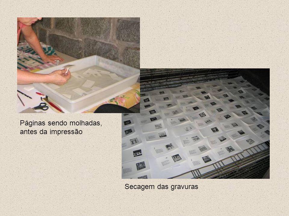 Páginas sendo molhadas, antes da impressão Secagem das gravuras