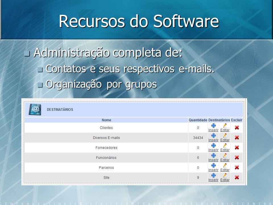 Recursos do Software Administração completa de: Administração completa de: Contatos e seus respectivos e-mails. Contatos e seus respectivos e-mails. O