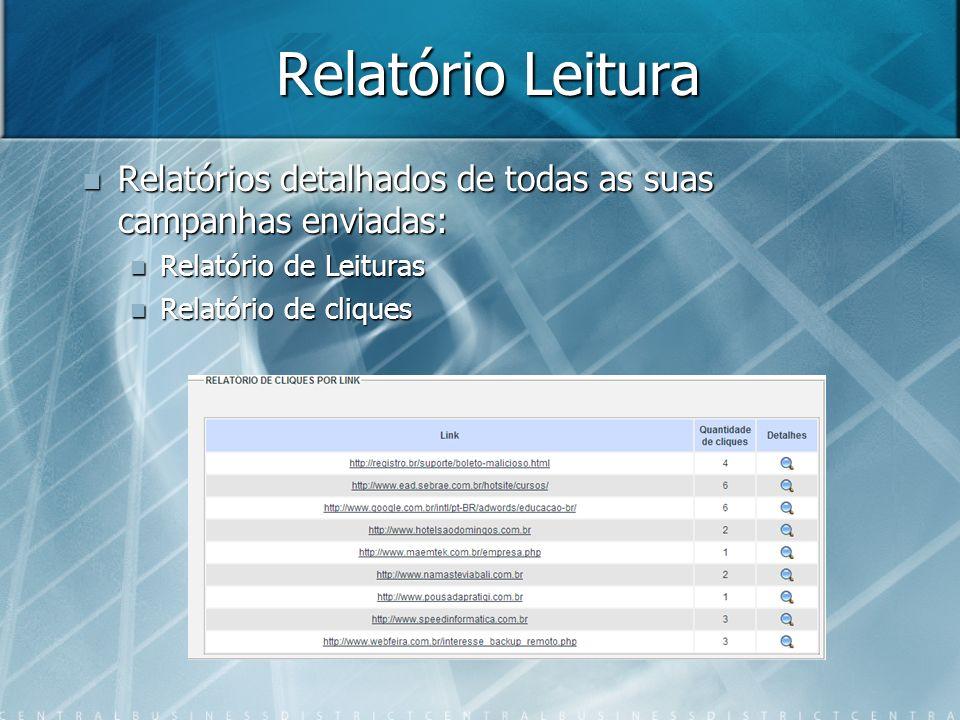 Relatório Leitura Relatórios detalhados de todas as suas campanhas enviadas: Relatórios detalhados de todas as suas campanhas enviadas: Relatório de L