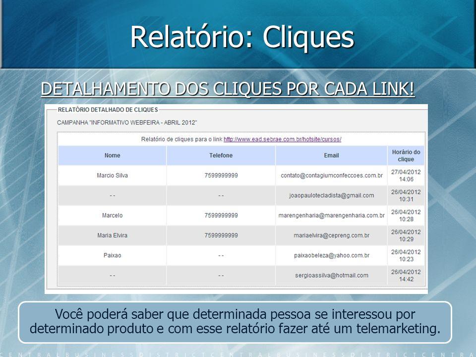 Relatório: Cliques DETALHAMENTO DOS CLIQUES POR CADA LINK! Você poderá saber que determinada pessoa se interessou por determinado produto e com esse r