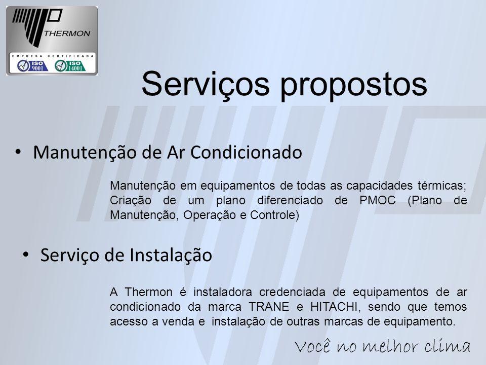 Manutenção de Ar Condicionado Manutenção em equipamentos de todas as capacidades térmicas; Criação de um plano diferenciado de PMOC (Plano de Manutenç