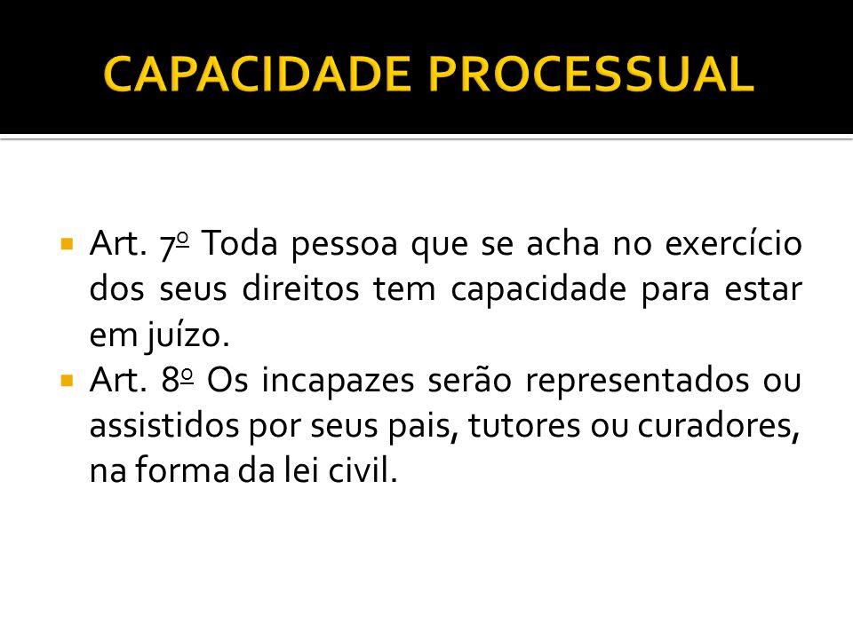 Art.7 o Toda pessoa que se acha no exercício dos seus direitos tem capacidade para estar em juízo.