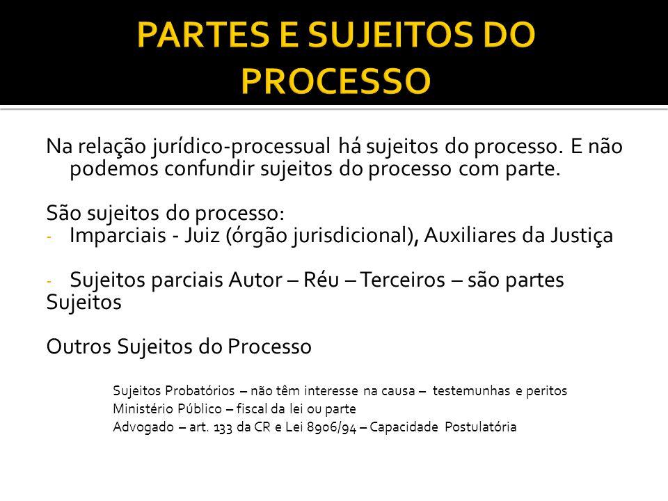 Na relação jurídico-processual há sujeitos do processo.