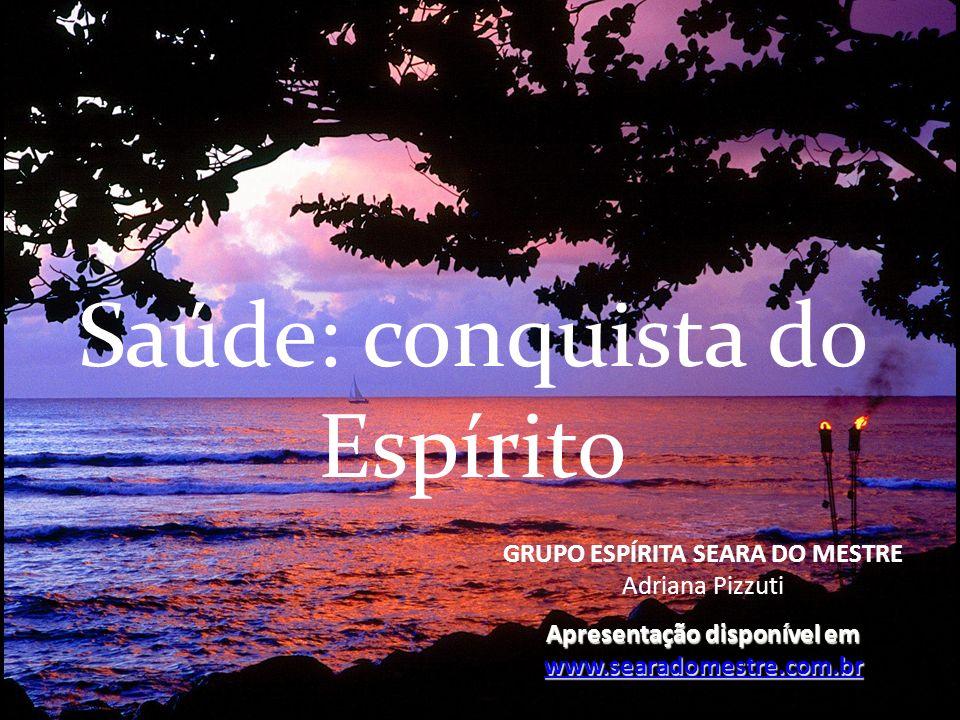 Saúde: conquista do Espírito GRUPO ESPÍRITA SEARA DO MESTRE Adriana Pizzuti Apresentação disponível em www.searadomestre.com.br www.searadomestre.com.