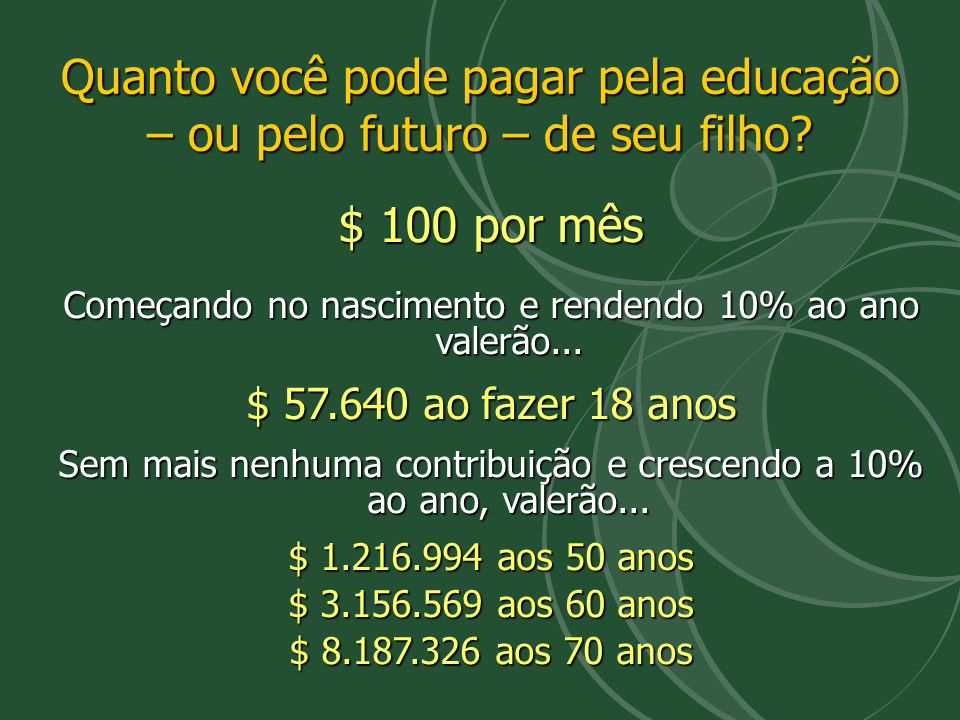 Quanto você pode pagar pela educação – ou pelo futuro – de seu filho? $ 100 por mês Começando no nascimento e rendendo 10% ao ano valerão... $ 57.640