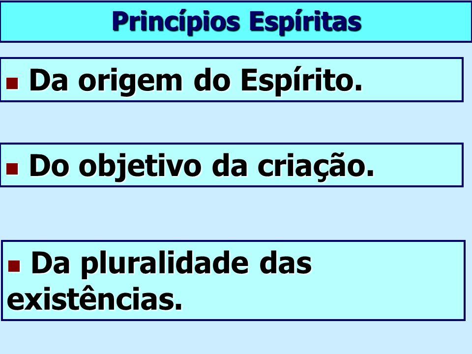 Princípios Espíritas Da origem do Espírito. Da origem do Espírito. Da pluralidade das existências. Da pluralidade das existências. Do objetivo da cria
