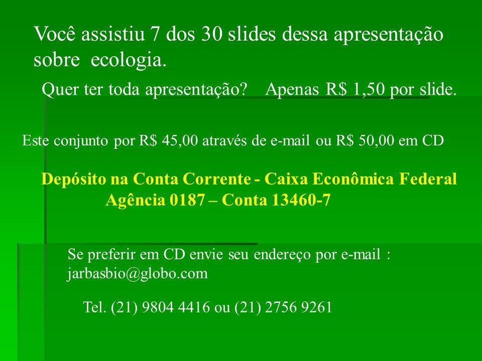 Você assistiu 7 dos 30 slides dessa apresentação sobre ecologia. Quer ter toda apresentação?Apenas R$ 1,50 por slide. Este conjunto por R$ 45,00 atrav