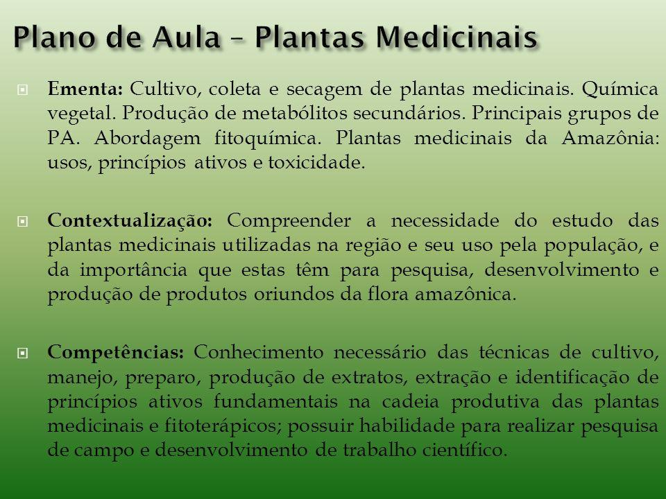 Ementa: Cultivo, coleta e secagem de plantas medicinais.