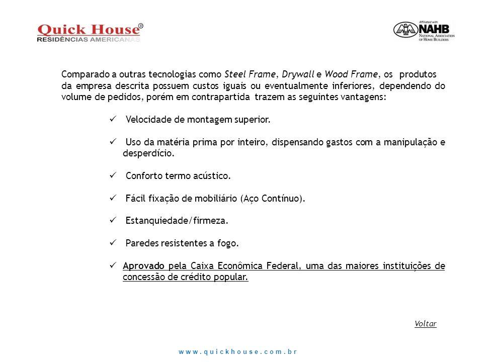 www.quickhouse.com.br Comparado a outras tecnologias como Steel Frame, Drywall e Wood Frame, os produtos da empresa descrita possuem custos iguais ou