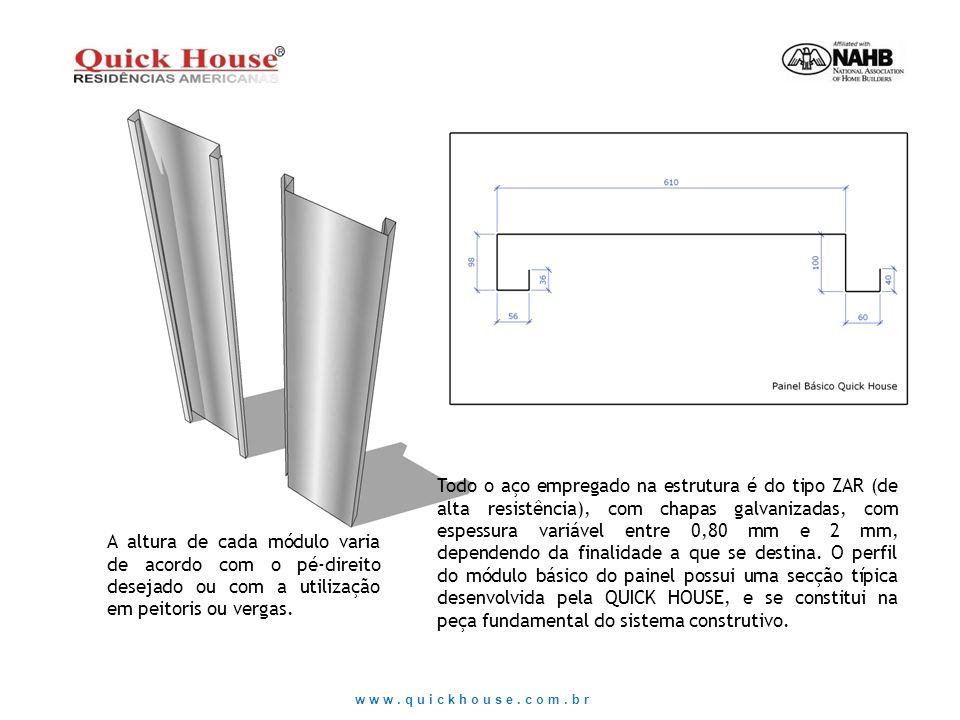 Todo o aço empregado na estrutura é do tipo ZAR (de alta resistência), com chapas galvanizadas, com espessura variável entre 0,80 mm e 2 mm, dependend