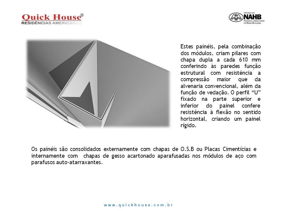 www.quickhouse.com.br Estes painéis, pela combinação dos módulos, criam pilares com chapa dupla a cada 610 mm conferindo às paredes função estrutural