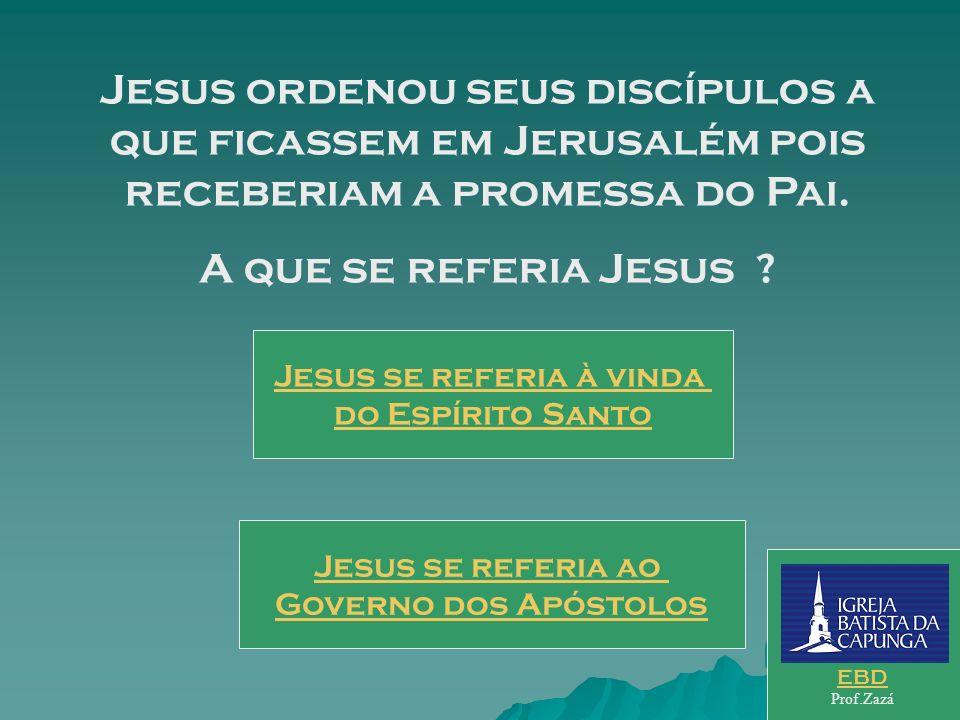 No início do livro dos atos Lucas cita uma ordem de Jesus aos discípulos. Que ordenou Jesus ? fossem ao Templo Orai sem cessar ficassem em Jerusalém E
