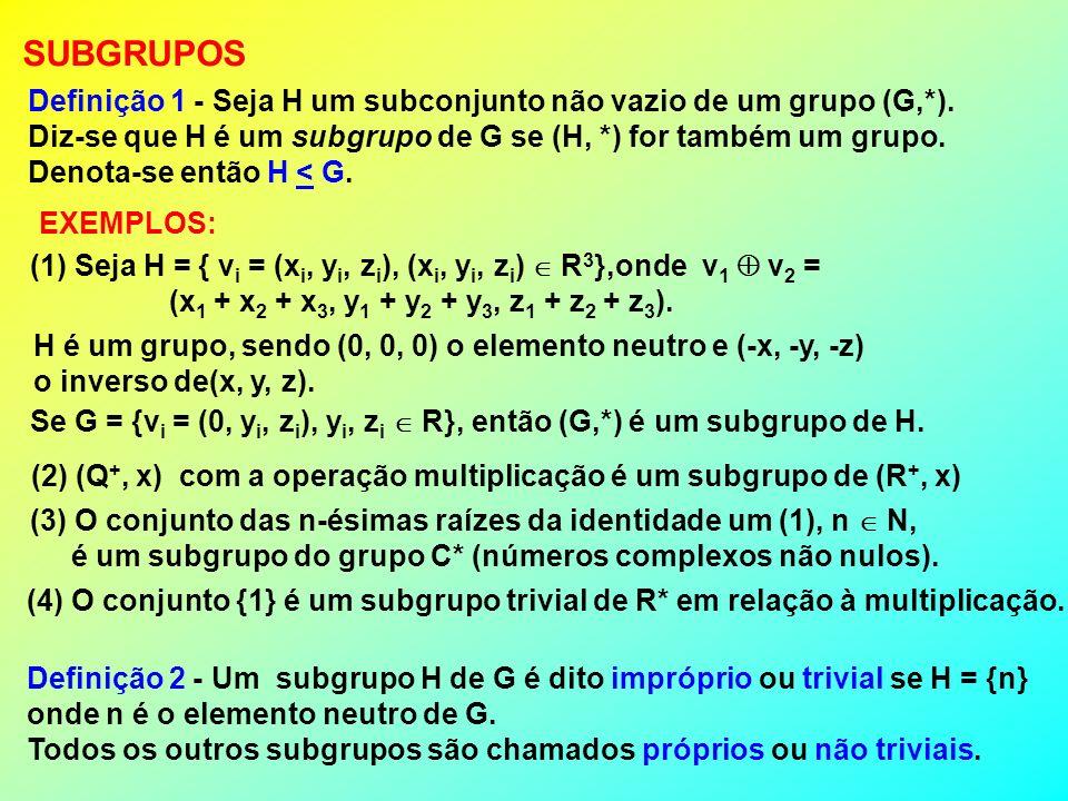 SUBGRUPOS Definição 1 - Seja H um subconjunto não vazio de um grupo (G,*). Diz-se que H é um subgrupo de G se (H, *) for também um grupo. Denota-se en