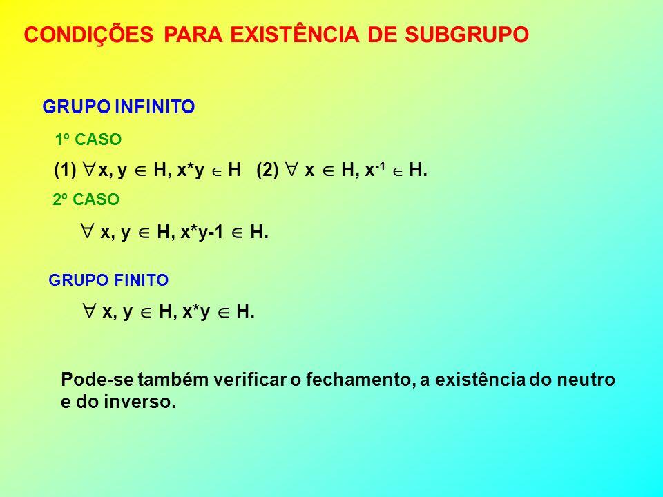 CONDIÇÕES PARA EXISTÊNCIA DE SUBGRUPO GRUPO INFINITO (1) x, y H, x*y H (2) x H, x -1 H. 1º CASO 2º CASO x, y H, x*y-1 H. GRUPO FINITO x, y H, x*y H. P