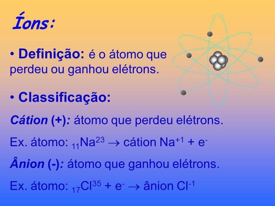 Notação Química do Átomo: Número Atômico (Z): n° prótons (p) Número de Massa (A): A = p + n (neutrons) zXAzXA N° de massa Símbolo do elemento N° atômi