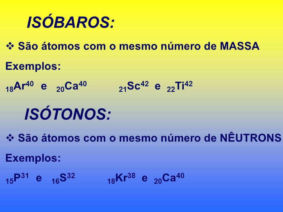 São átomos com o mesmo número de PRÓTONS. Exemplos: 6 C 12 e 6 C 14 8 O 15 e 8 O 16 1 H 1 1 H 2 1 H 3 Hidrogênio Deutério Trítio 99,98% 0,02% 10 -7 %