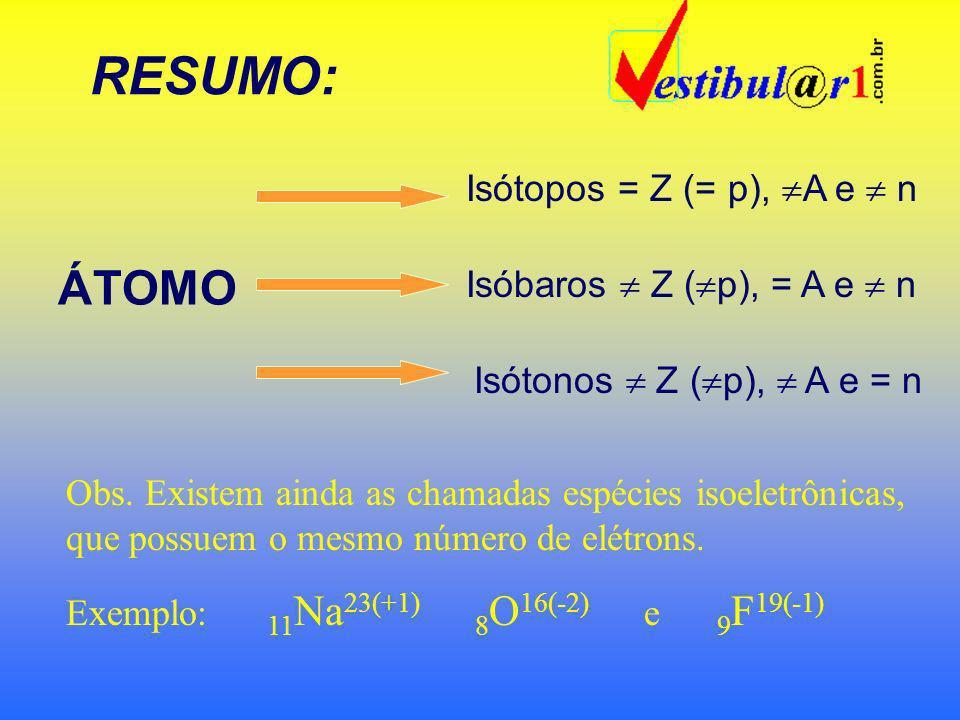 ISÓBAROS: São átomos com o mesmo número de MASSA Exemplos: 18 Ar 40 e 20 Ca 40 21 Sc 42 e 22 Ti 42 ISÓTONOS: São átomos com o mesmo número de NÊUTRONS