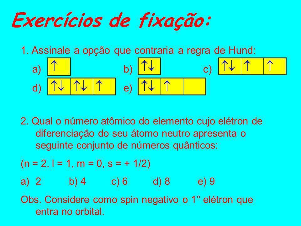 Exercícios de fixação: 3. Indique qual dos conjuntos de números quânticos abaixo citados é impossível: a) 2, 0, 0, -1/2 b) 3, 2, +1, +1/2 c) 3, 0, +1,