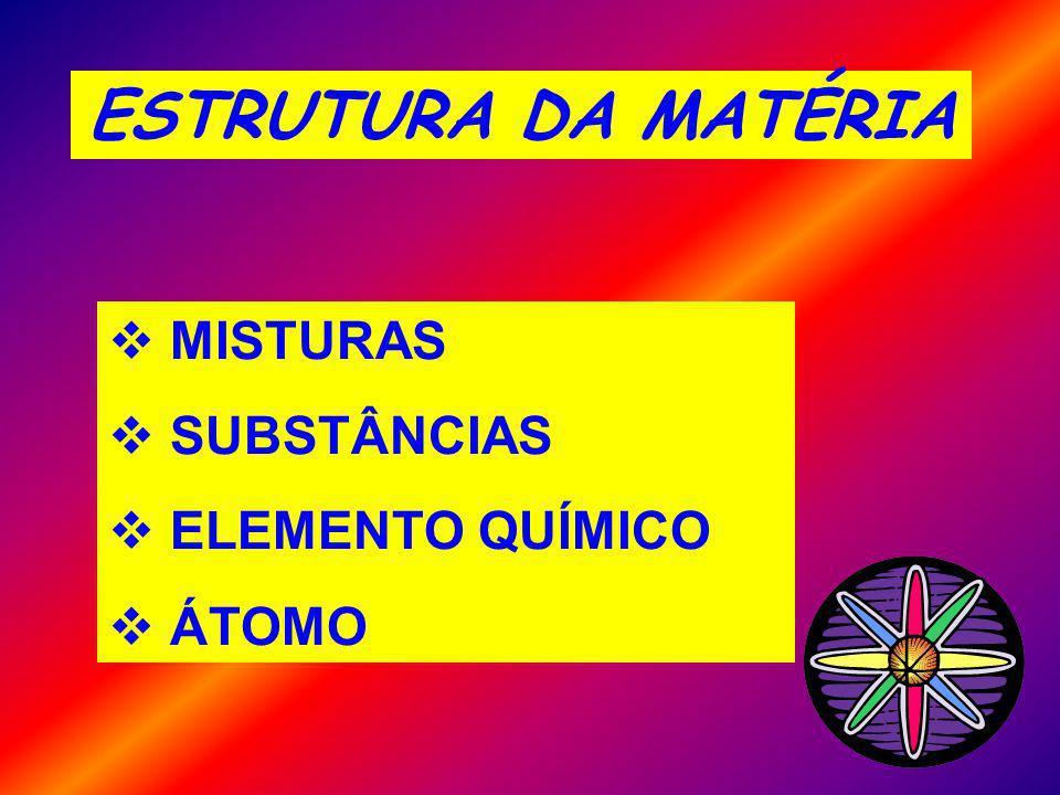 MISTURAS SUBSTÂNCIAS ELEMENTO QUÍMICO ÁTOMO ESTRUTURA DA MATÉRIA