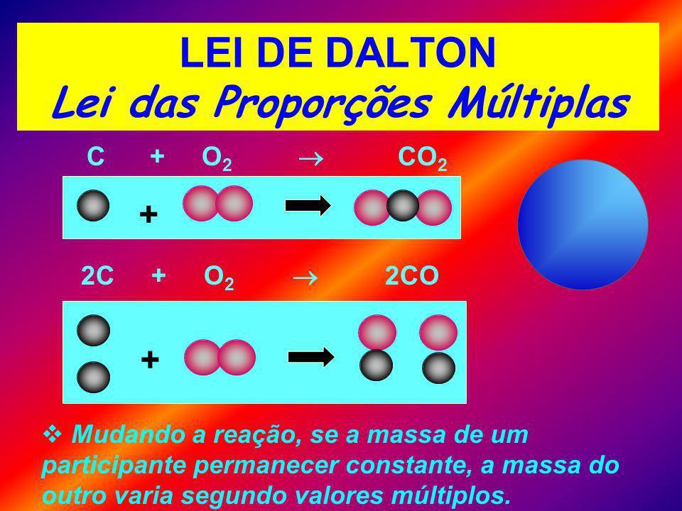 LEI DE DALTON Lei das Proporções Múltiplas C + O 2 CO 2 + 2C + O 2 2CO + Mudando a reação, se a massa de um participante permanecer constante, a massa do outro varia segundo valores múltiplos.