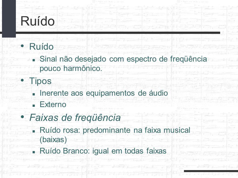 Ruído Sinal não desejado com espectro de freqüência pouco harmônico. Tipos Inerente aos equipamentos de áudio Externo Faixas de freqüência Ruído rosa: