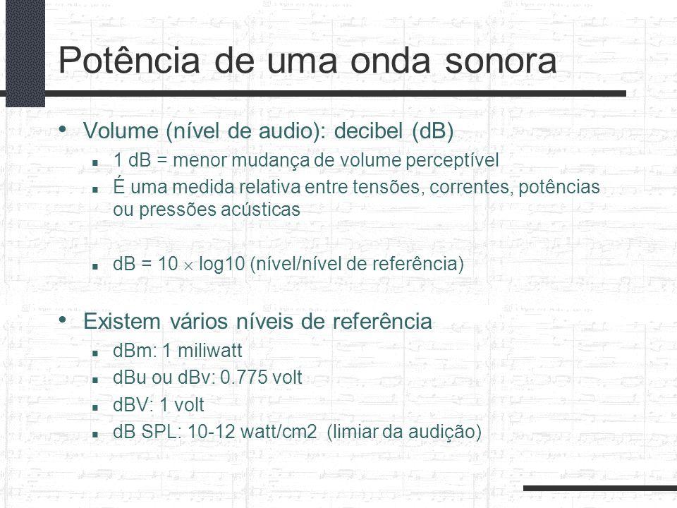 Potência de uma onda sonora Volume (nível de audio): decibel (dB) 1 dB = menor mudança de volume perceptível É uma medida relativa entre tensões, corr