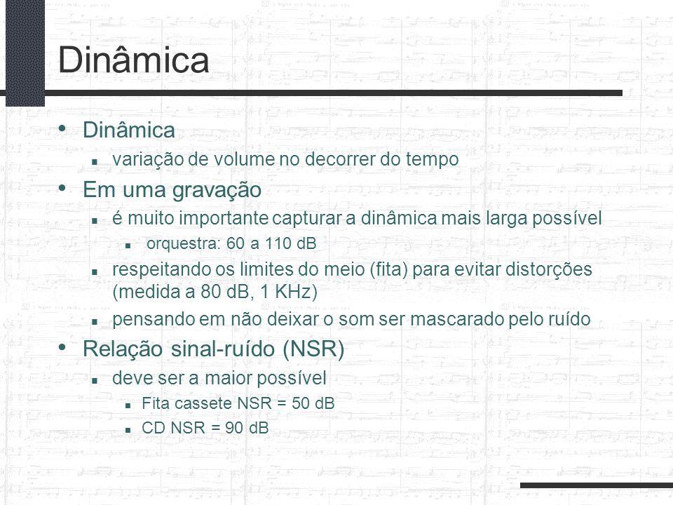 Dinâmica variação de volume no decorrer do tempo Em uma gravação é muito importante capturar a dinâmica mais larga possível orquestra: 60 a 110 dB res