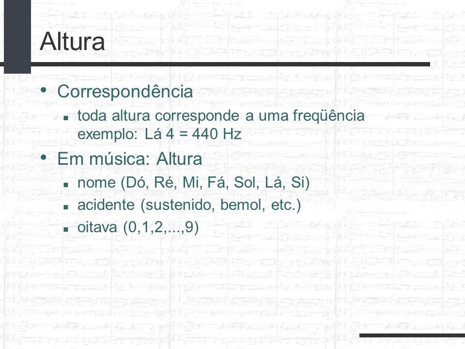 Altura Correspondência toda altura corresponde a uma freqüência exemplo: Lá 4 = 440 Hz Em música: Altura nome (Dó, Ré, Mi, Fá, Sol, Lá, Si) acidente (