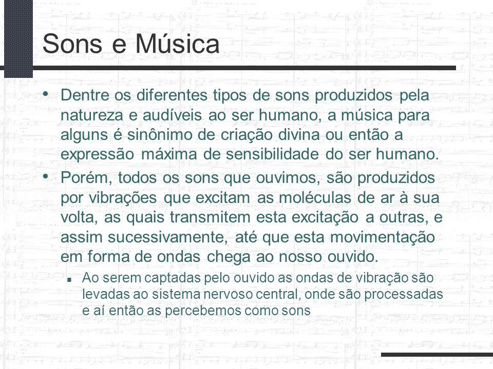 Sons e Música Dentre os diferentes tipos de sons produzidos pela natureza e audíveis ao ser humano, a música para alguns é sinônimo de criação divina