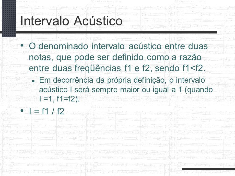 Intervalo Acústico O denominado intervalo acústico entre duas notas, que pode ser definido como a razão entre duas freqüências f1 e f2, sendo f1<f2. E