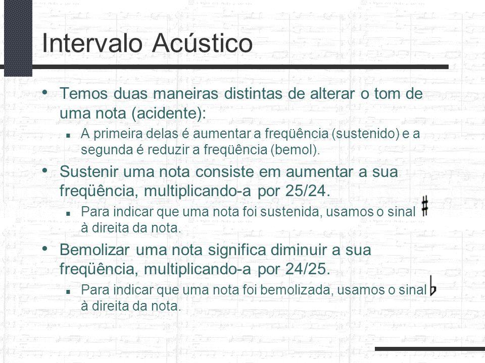 Intervalo Acústico Temos duas maneiras distintas de alterar o tom de uma nota (acidente): A primeira delas é aumentar a freqüência (sustenido) e a seg