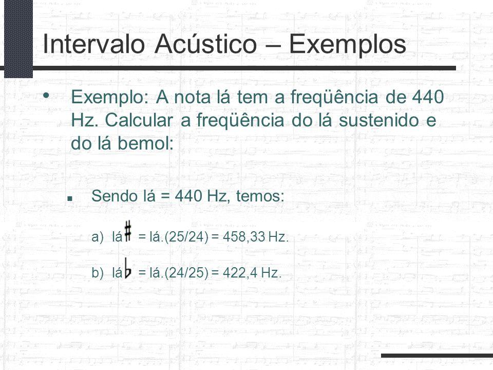 Intervalo Acústico – Exemplos Exemplo: A nota lá tem a freqüência de 440 Hz. Calcular a freqüência do lá sustenido e do lá bemol: Sendo lá = 440 Hz, t