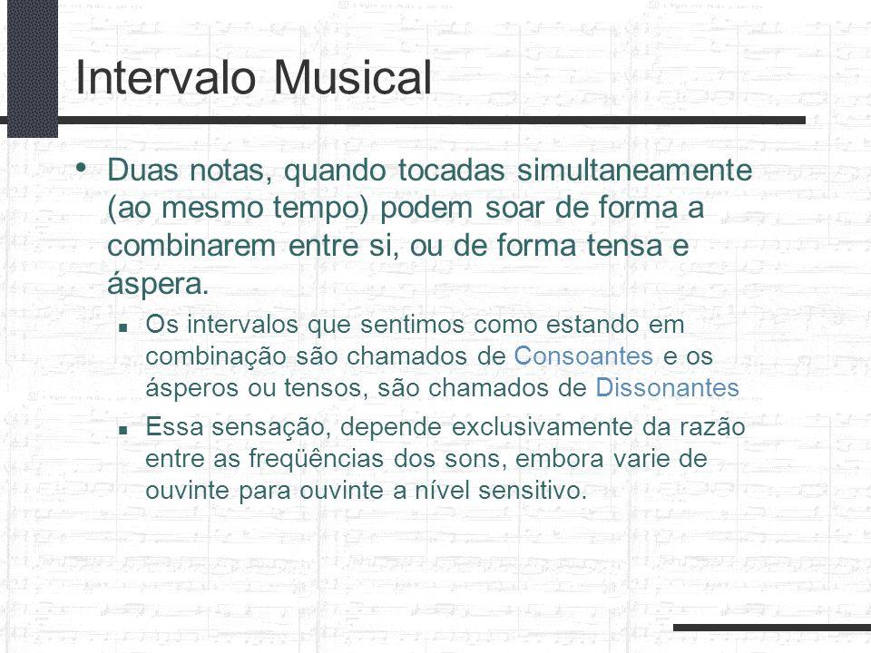 Intervalo Musical Duas notas, quando tocadas simultaneamente (ao mesmo tempo) podem soar de forma a combinarem entre si, ou de forma tensa e áspera. O
