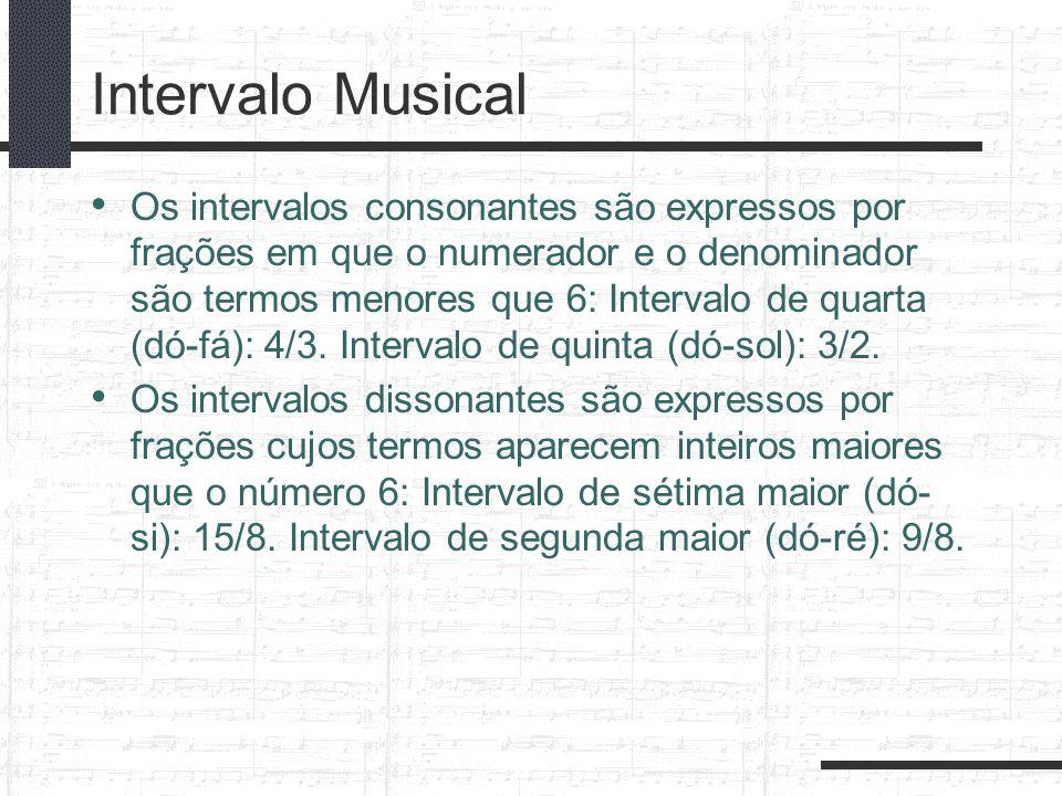 Intervalo Musical Os intervalos consonantes são expressos por frações em que o numerador e o denominador são termos menores que 6: Intervalo de quarta