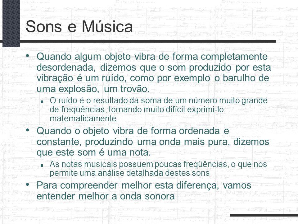 Sons e Música Quando algum objeto vibra de forma completamente desordenada, dizemos que o som produzido por esta vibração é um ruído, como por exemplo