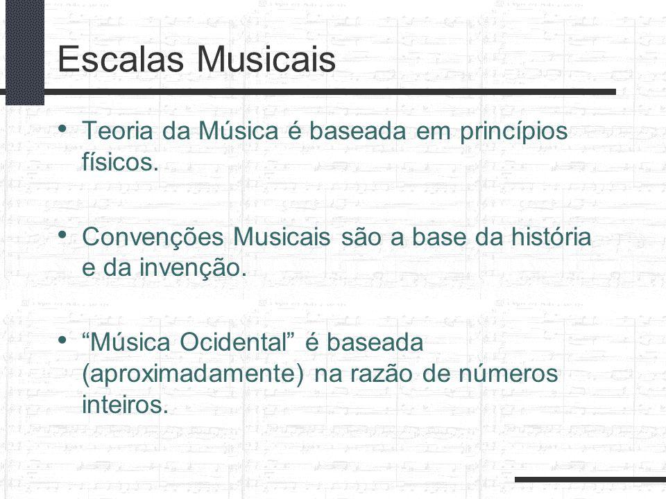 Escalas Musicais Teoria da Música é baseada em princípios físicos. Convenções Musicais são a base da história e da invenção. Música Ocidental é basead